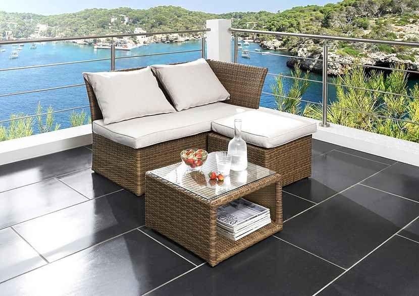 Destiny Gartenmobelset Loft 3 Tlg Bank Hocker Tisch 56x56 Cm Polyrattan Online Kaufen Otto Balkonmobel Lounge Mobel Lounge Mobel Balkon