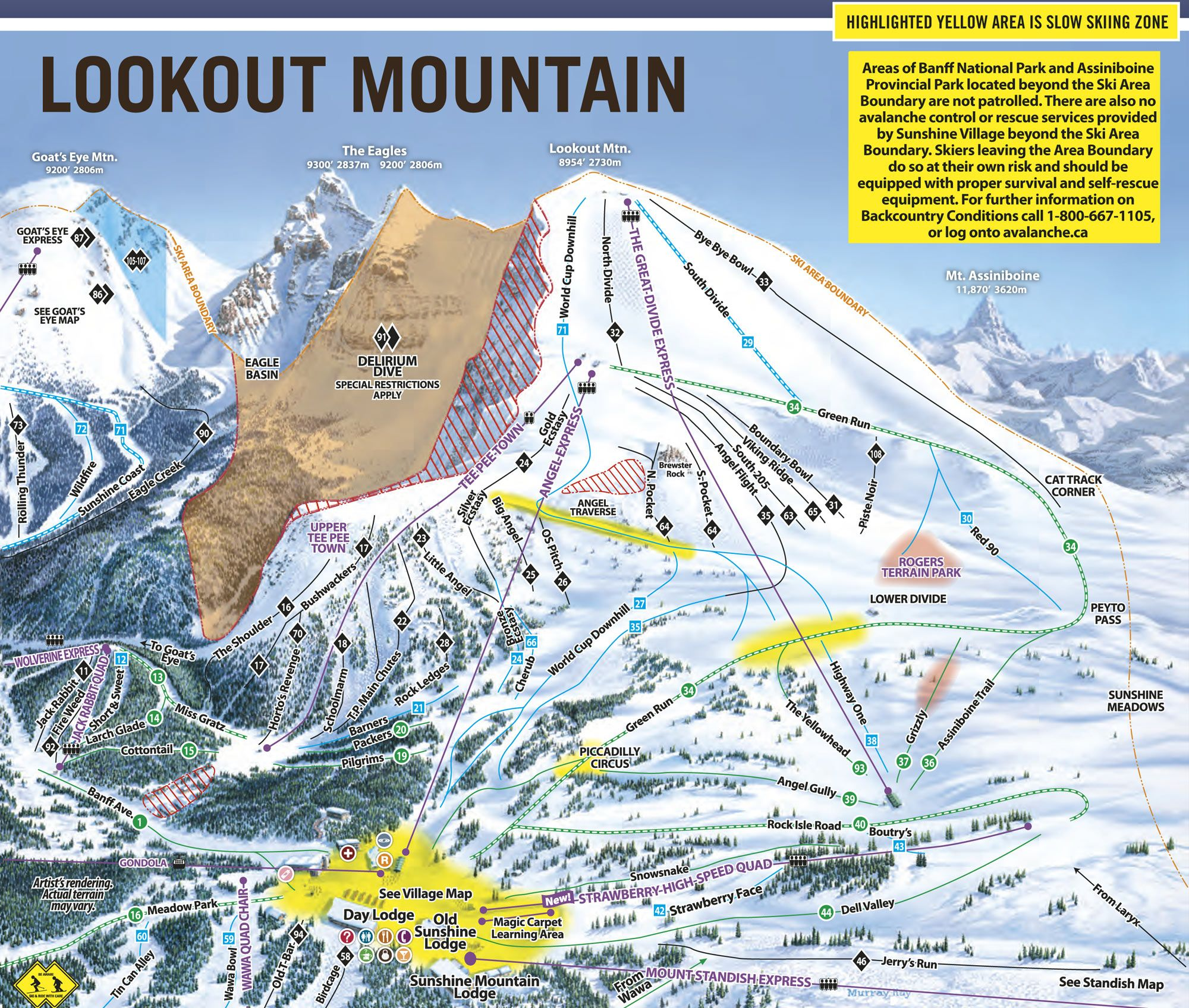 Sunshine Village Trail Maps  Sunshine Village Ski Resort Trail - Map of colorado ski resorts and cities