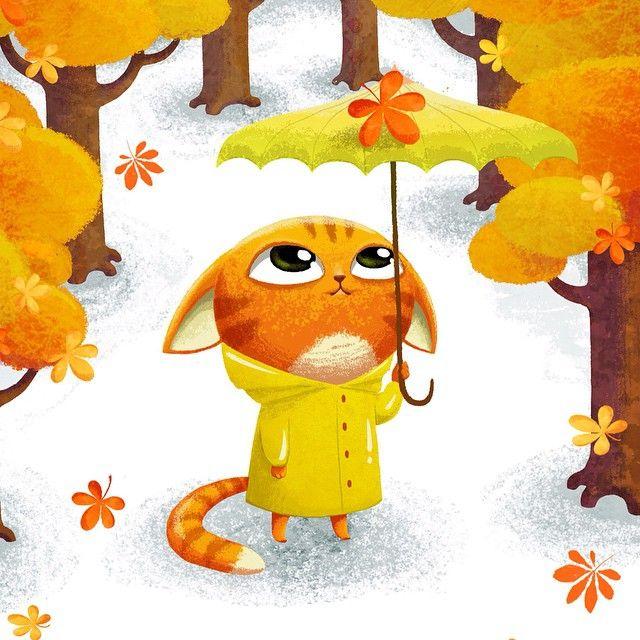 """Red cat in autumn. Illustration from ""Computer Mouse"" #illustration #book #childish #cat #cute #autumn #leaf #red #umbrella #raincoat"""