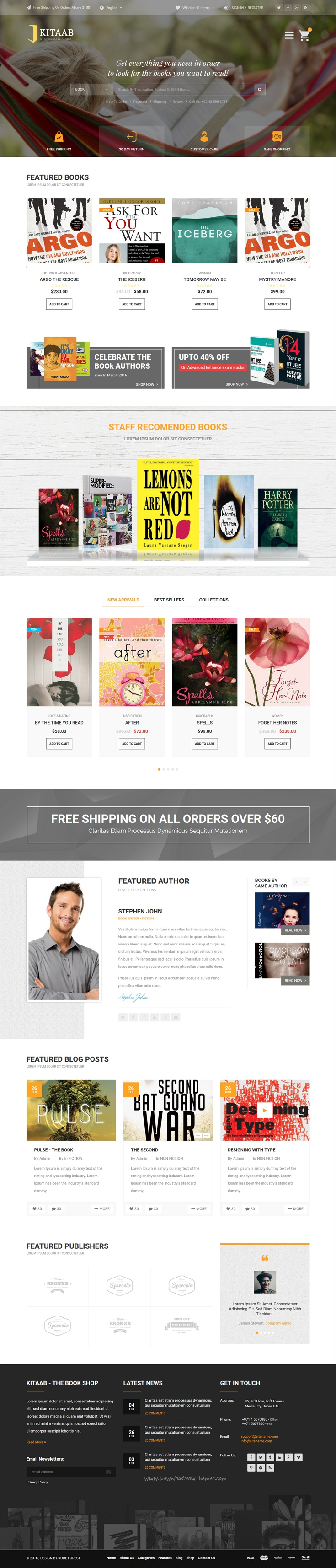 Kitaab is very beautiful responsive #Bootstrap HTML template for ...