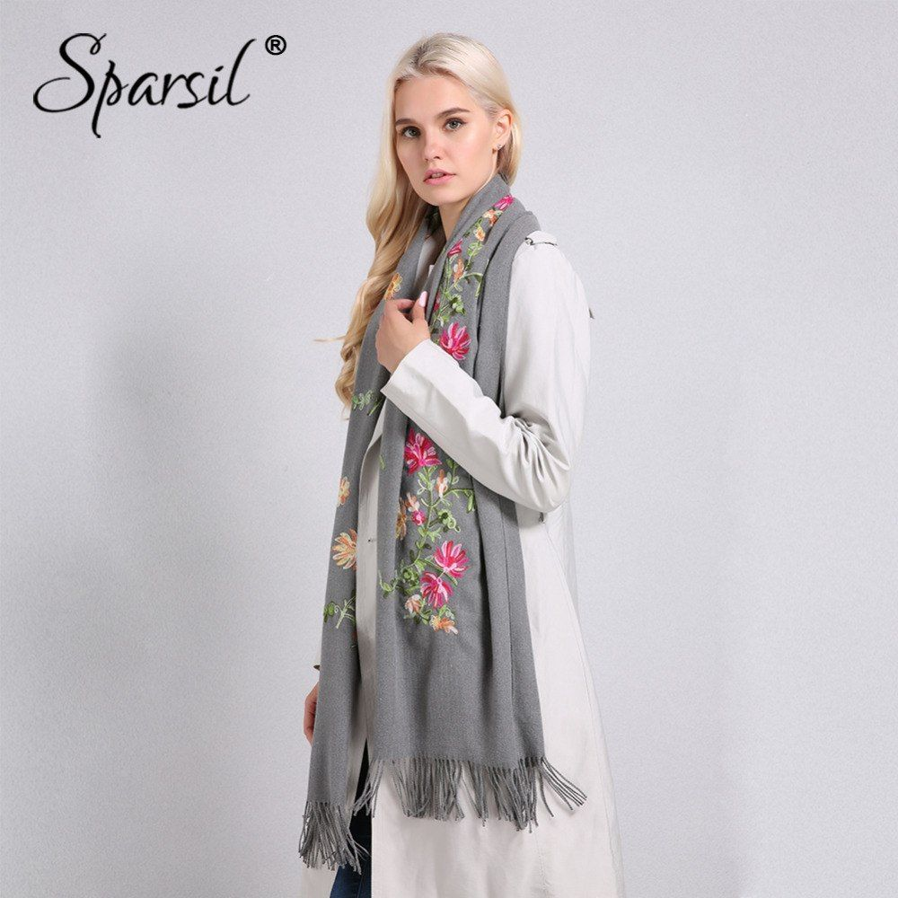 Vintage Women/'s Warm Winter Gray Floral Pashmina//Cashmere Tassel Long Scarf