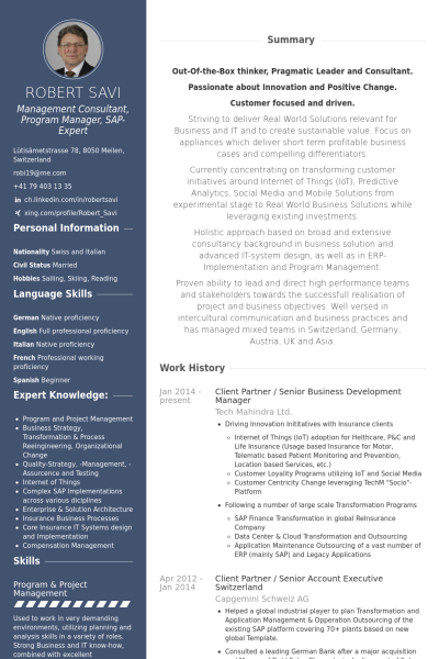 Client Partner Senior Business Development Manager Resume Example