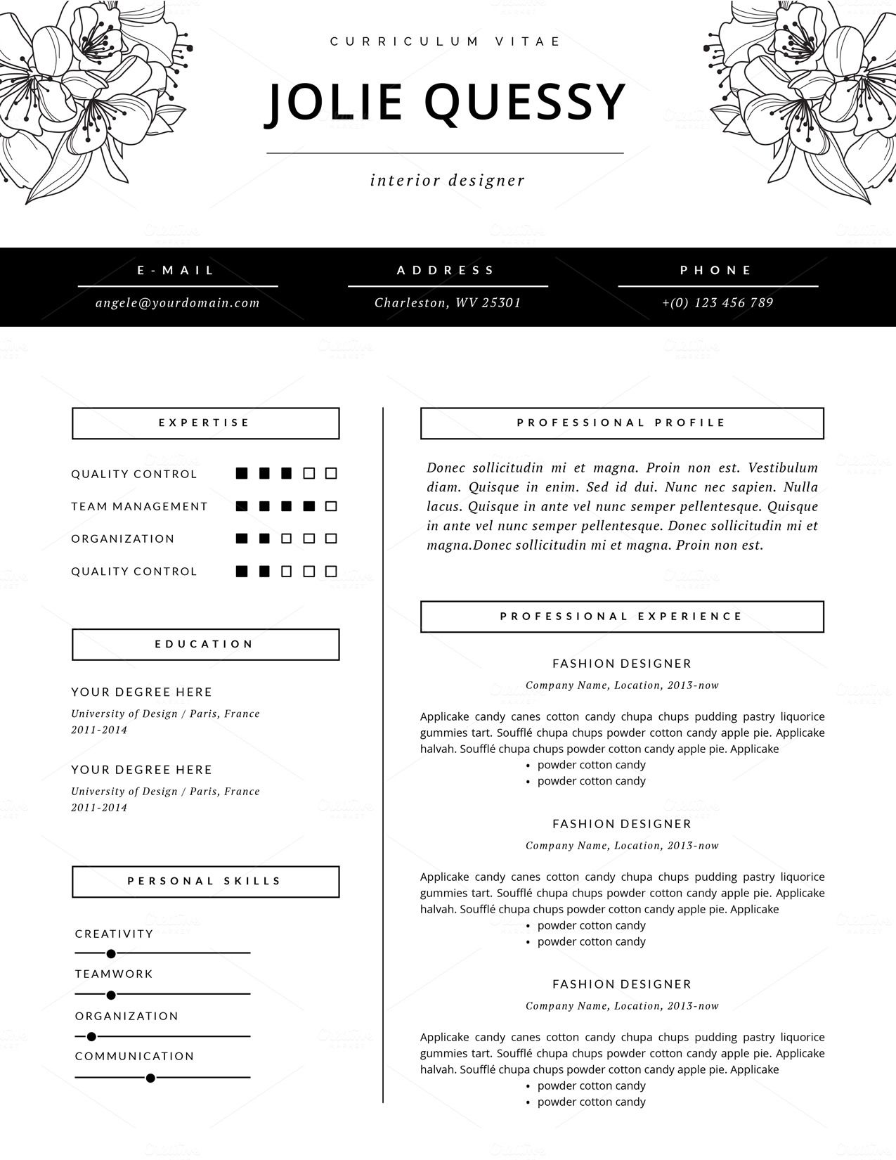 exceptionnel Fashion Resume Template | CV by This Paper Fox on Creative Market