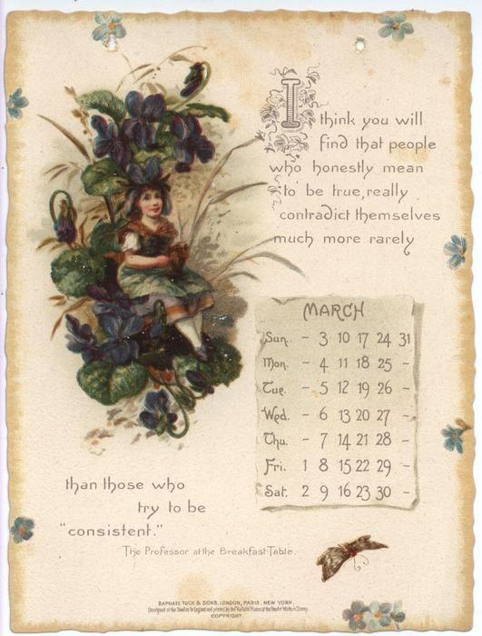 Oliver Wendell Holmes Calendar For 1895 Vintage Calendar Print