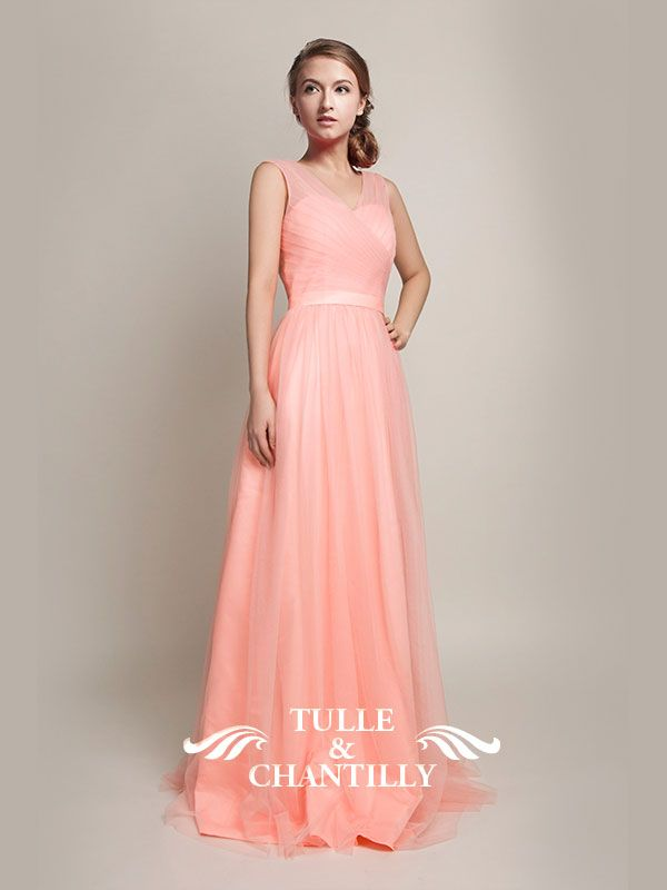 Hot V-Neckline Flowy Pleated Long Tulle Bridesmaid Dresses TBQP309 ...