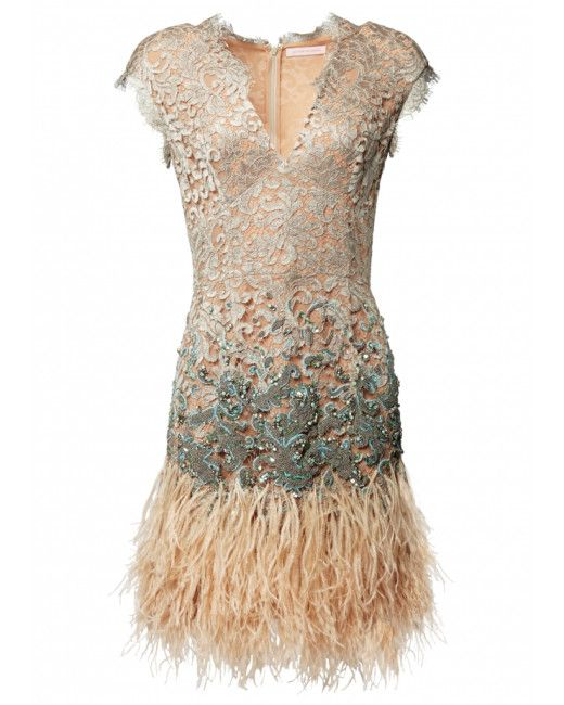 Matthew Williamson   Beige Lacquer Lace Feather Dress   Lyst
