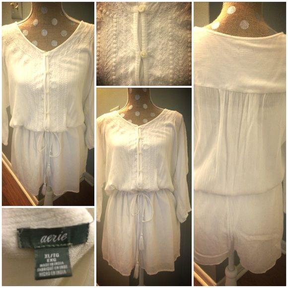 Romper/swimsuit coverup 100% viscose romper from summer 2015 Aerie. Draw string waist. Size XL aerie Swim