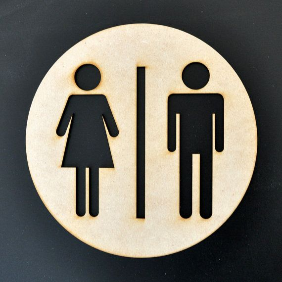 Restroom Sign Mens Womens Unisex Silhouette By Sayhelloshop