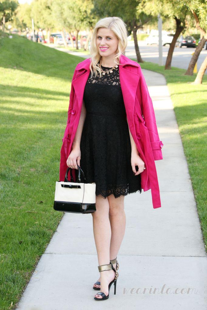 OOTD: Bright Pink Coat & LBD wear in la | hot pink winter trench ...