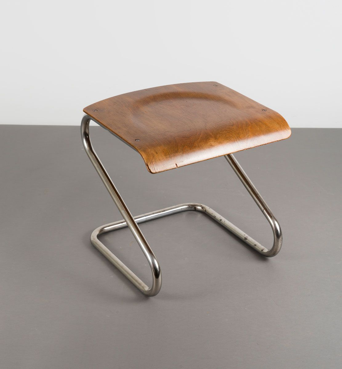 Anonymous Chrome Plated Tubular Steel And Plywood Stool