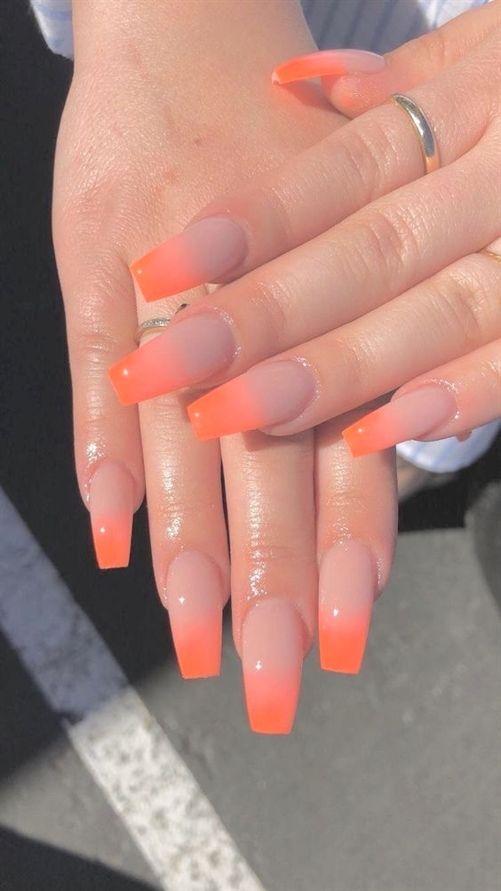 Acrylic orange coffin nails designs are so perfect for fall
