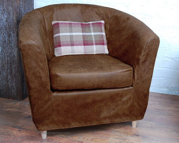 Stunning, Distressed Look Faux Leather Cover To Fit The Ikea Tullsta Tub  Chair. Dark Tan Distressed Faux Leather. Looks Absolutely Beautiful In