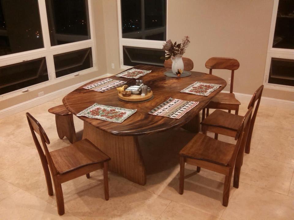 Dining Table Set Slab Furniture 808 227 9473 Www Woodworkinghawaii Com Kini Makes Dining Tables Cha Hardwood Furniture Solid Wood Furniture Wood Furniture