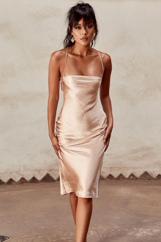 35d331464ddc Clothing : Bodycon Dresses : 'Julieta' Champagne Satin Slip Dress ...