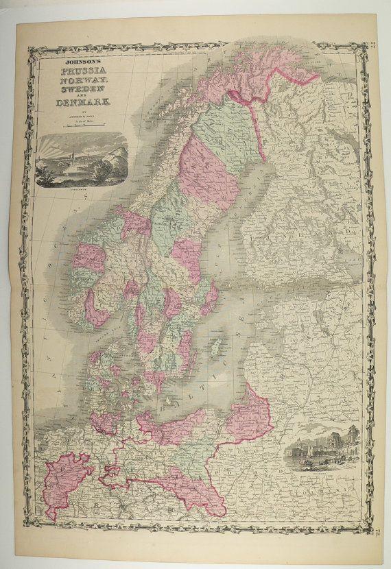 sweden norway denmark map antique prussia scandinavia vintage original old 1862 johnson map travel gifts under 100 by oldmapsandprints