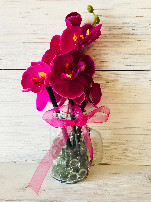 Purple Orchid Flower Pen Pot Spring Decor Gift For Mom Etsy Flower Pens Pot Flower Pens Purple Orchids