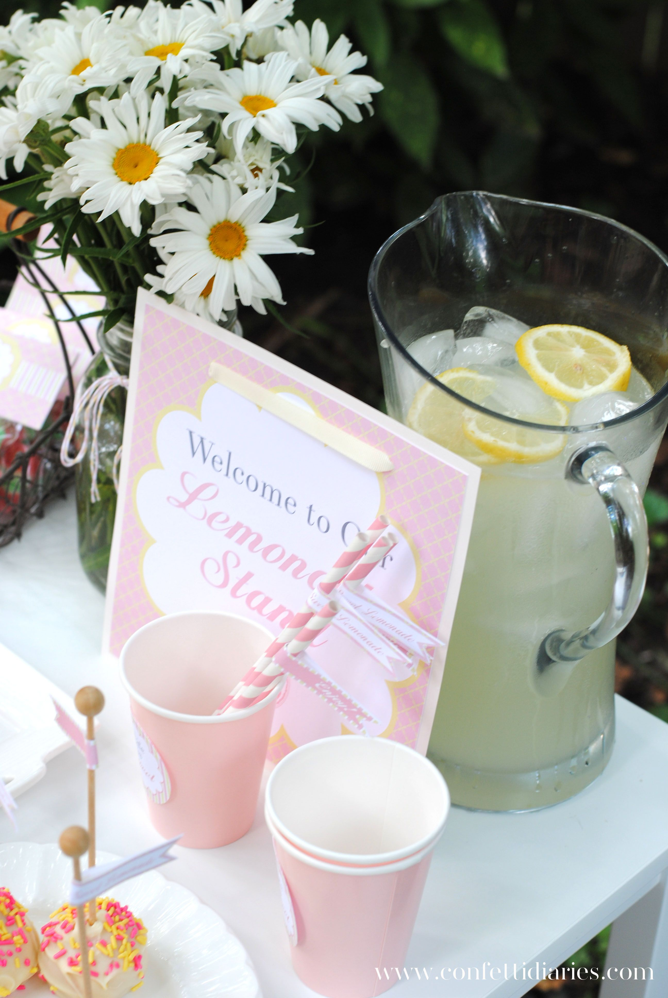 Loving this Pink Lemonade Stand Playdate by Katrina's Paperie   http://doublefunparties.com/2014/07/07/guest-party-pink-lemonade-play-date-party/