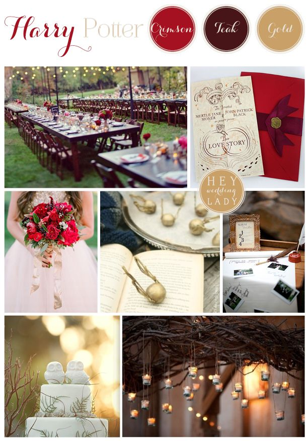 A Gryffindor Red and Gold Rustic Harry Potter Inspiration Board from hey Wedding Lady