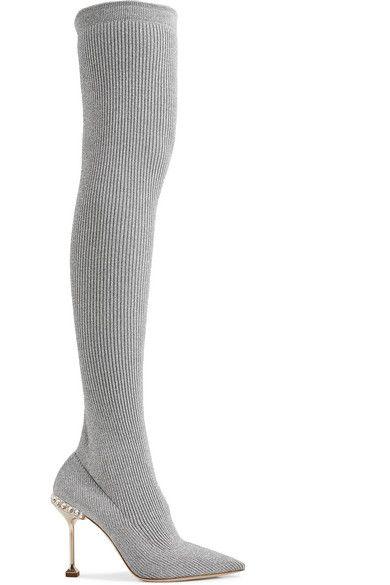 c51324eee7e2 Miu Miu | Embellished ribbed-knit over-the-knee sock boots |  NET-A-PORTER.COM