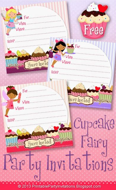 Free Printable Party Invitations Cupcake Fairy Templates