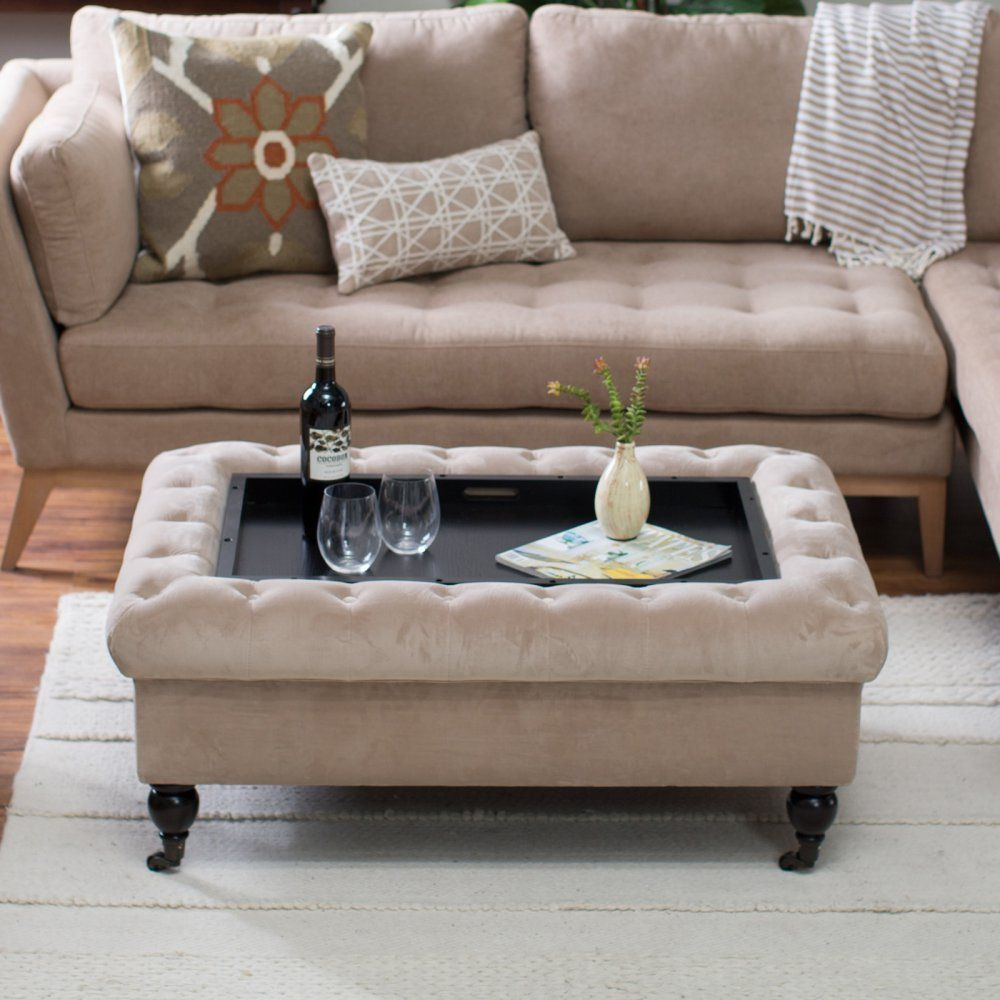 Belham Living Sandrine Tufted Storage Ottoman with Tray Table ...