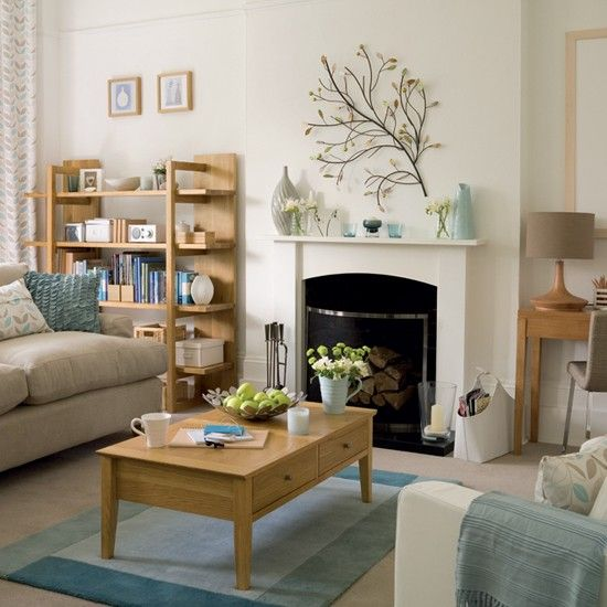 Grey Blue And Brown Living Room Design: Living Room With Fireplace