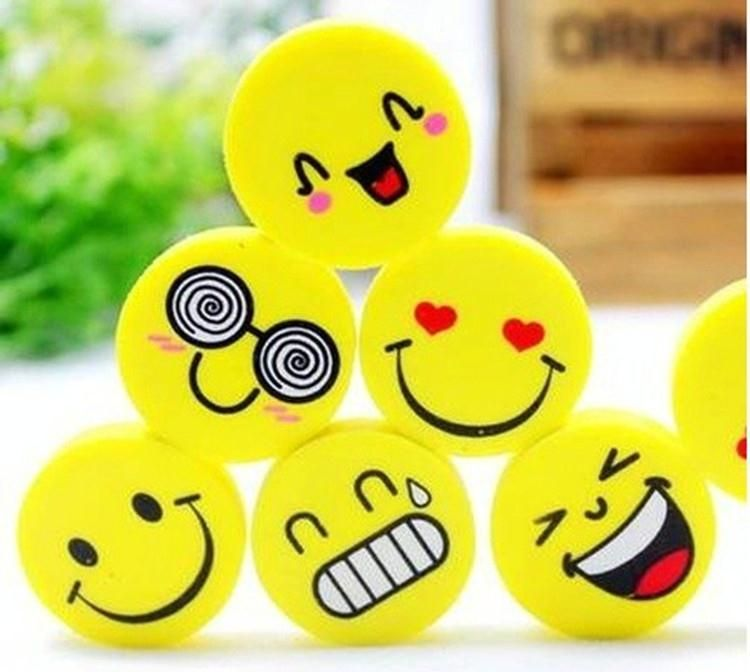 4pcs Emoji Smile Erasers Rubber Fancy Eraser Assorted Stationery Cute Smiling Face Expression Study Gift School Supplies