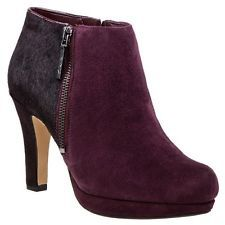 CLARKS Kendra Accent Ladies Wine Suede High Heel Smart Ankle Boots size 3.5  NEW