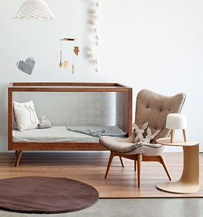 Mid Century Modern Nursery Furniture Source Cribs With Plexiglas Sides And Statement Chairs For A Baby Room