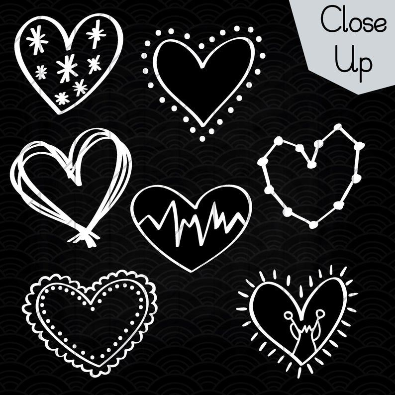 52 White Hearts Outline Clip Art Hand Drawn Romance