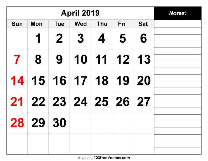 April 2019 Printable Calendar 2019 Calendar Pinterest Calendar
