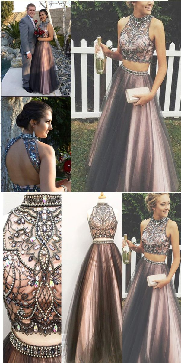 New Arrival Black Pink 2 Pieces Ball Gown Prom Dresses High Neck Beaded Two Pieces Evening Gowns Prom Dress Modest Cute Long Evening Dress Prom Gowns Vintage Prom Dresses Ball Gown Prom Dresses