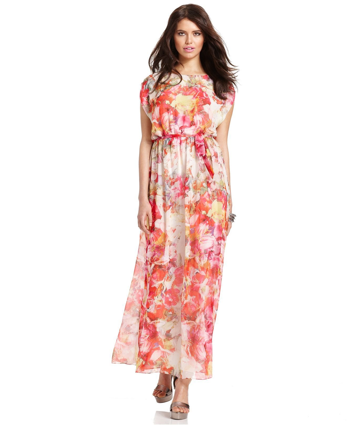 Vince Camuto Dress Cap Sleeve Floral Print Maxi Dresses Women