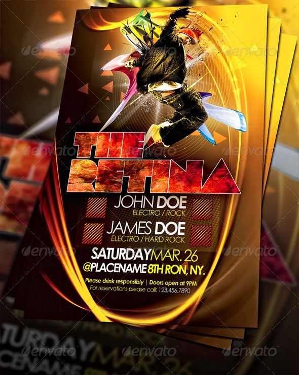 The Retina Party Flyer Party flyer, Flyer template and Event flyer