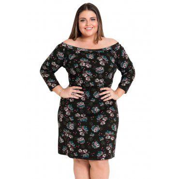 85cadae74 Vestido Ombro a Ombro Floral Preto Quintess Plus Size