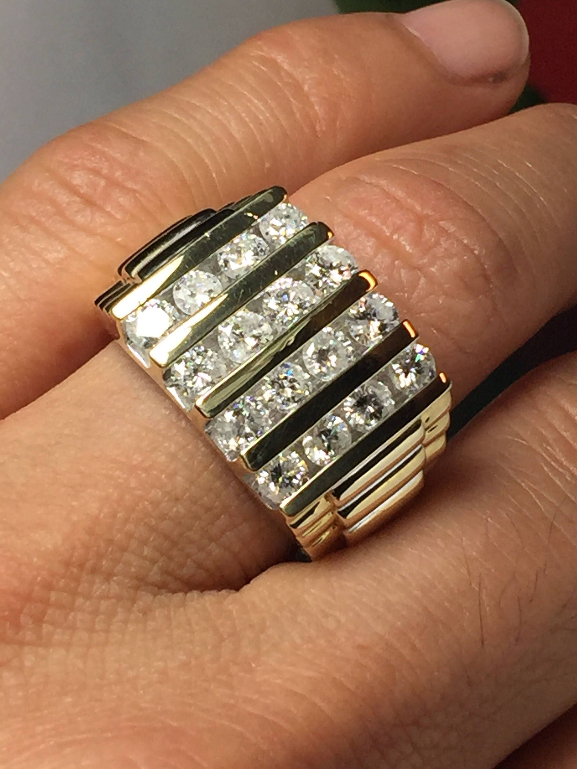 Great Beautiful And very large mens Rolex Design Ring a Classic and timeless ring This ring offers Natural Diamonds each Diamond ctw making the total ctw