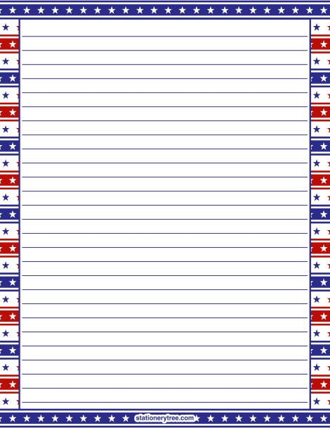 Printable Patriotic Stationery And Writing Paper. Multiple Versions  Available With Or Without Lines. Free  Free Printable Lined Writing Paper