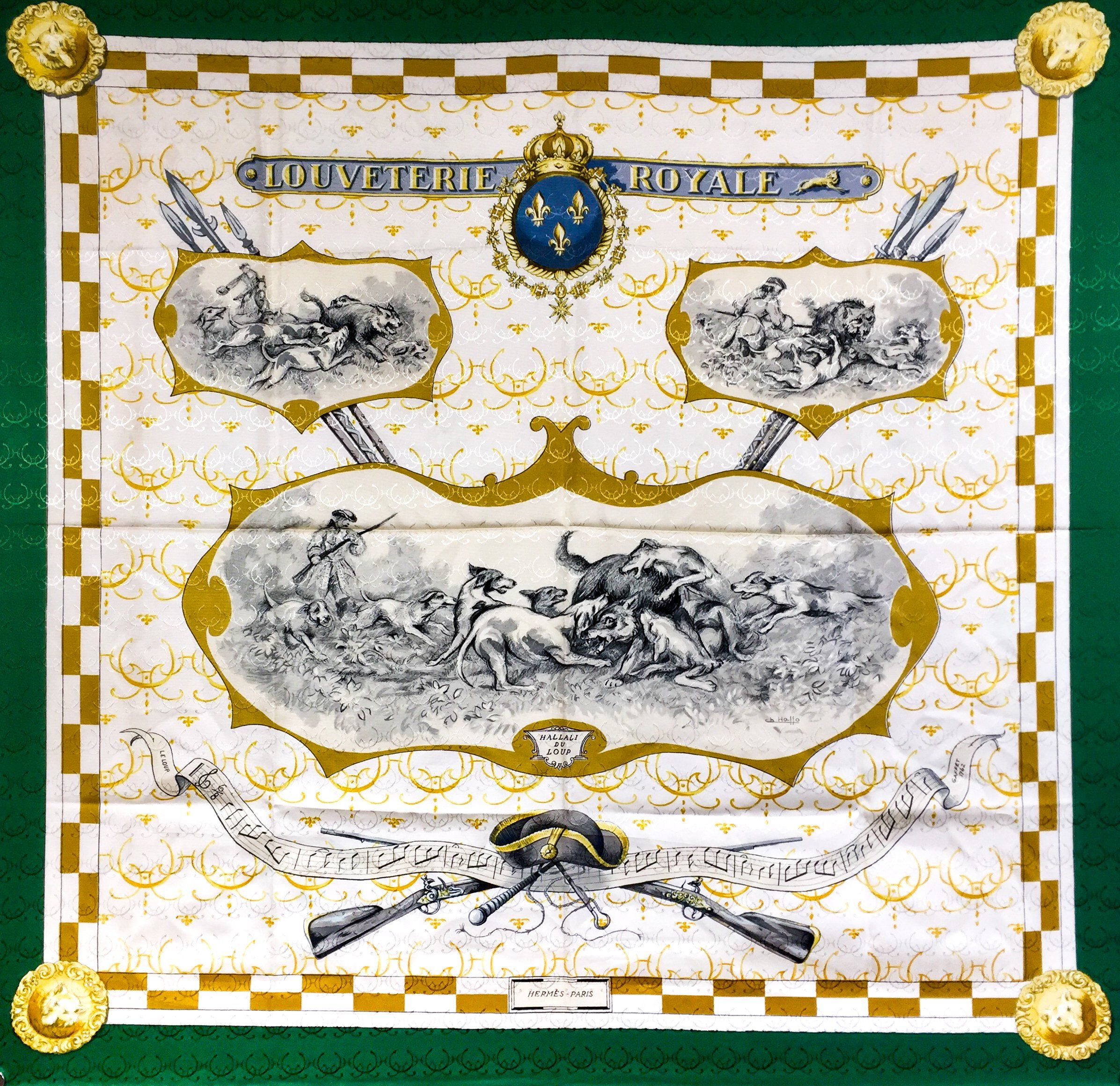 Hermes Louveterie Royale Vintage Jacquard RARE w Box   Hermes Silk ... 93897a143dc