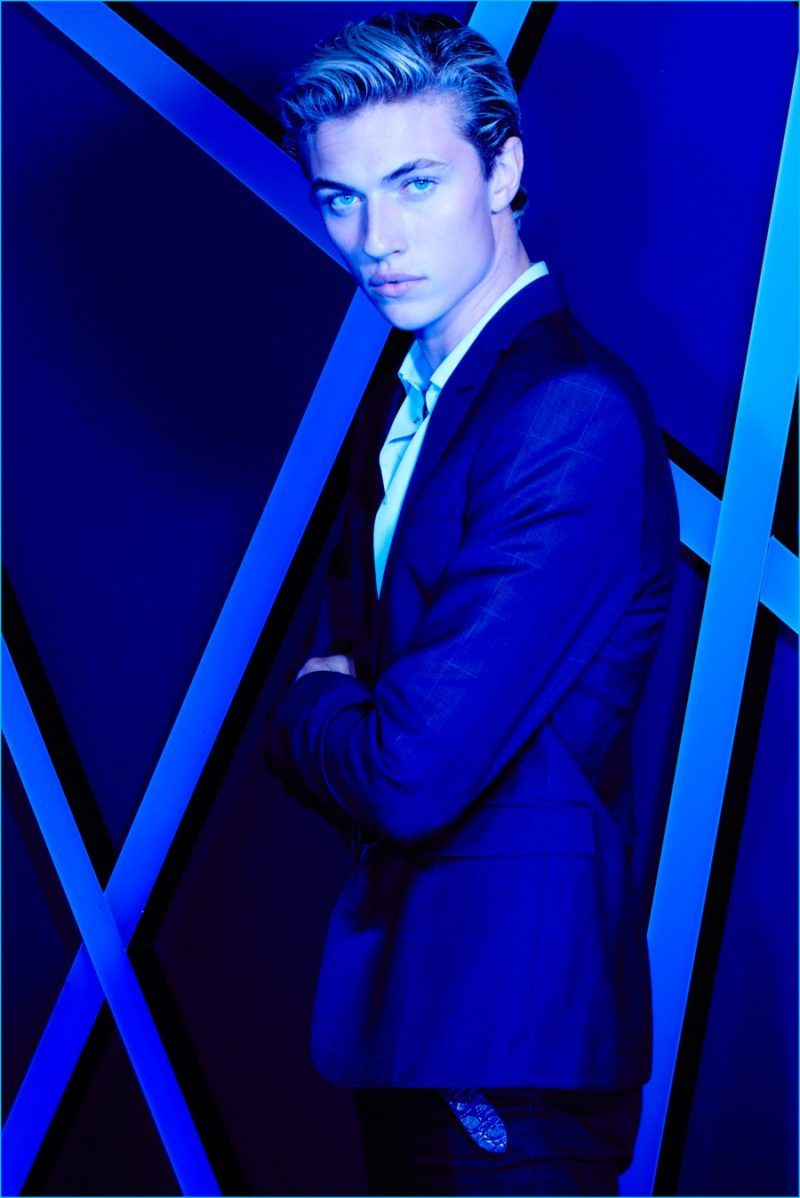 Lucky Blue Smith poses for a dynamic image, shot during the L'Oreal Paris Blue Obsession Party during the 2016 Cannes Film Festival.
