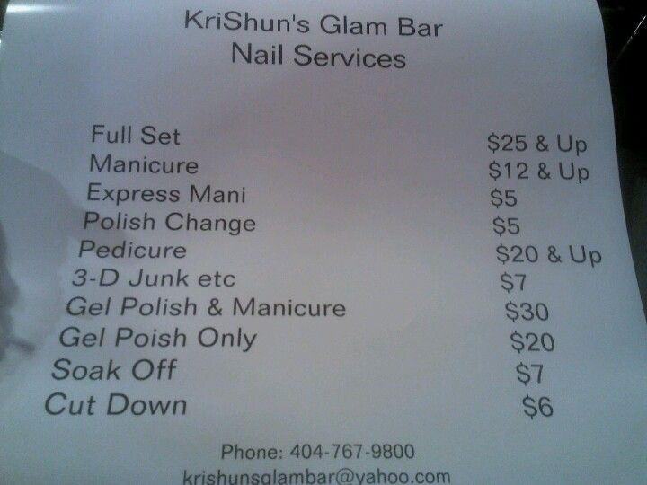 Krishuns Glam Bar prices. Nail services Saturday Only