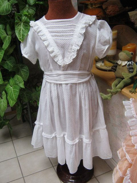 Iconic  white dotted Swiss girls party dress fifties by lovinglola, $25.00