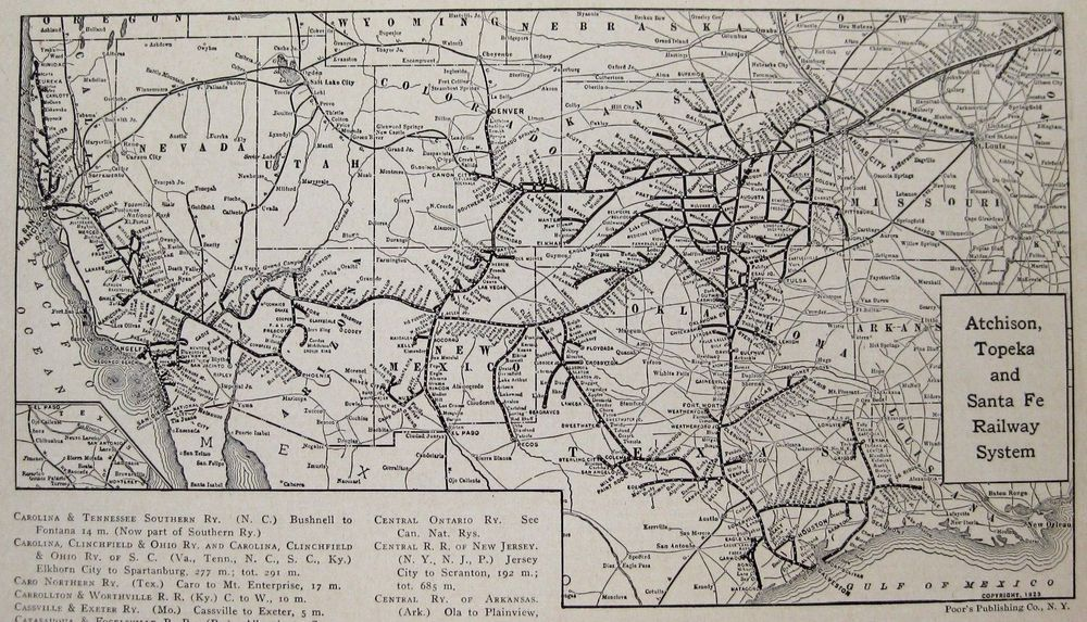 Detalles Acerca De Antiguo Atchison Topeka Santa Fe Railroad - Atchinson topeka and santa ferailroad on the us map