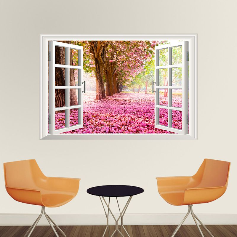 New Cherry Tree Picture Windows Living Room Bedroom Wall Stickers ...