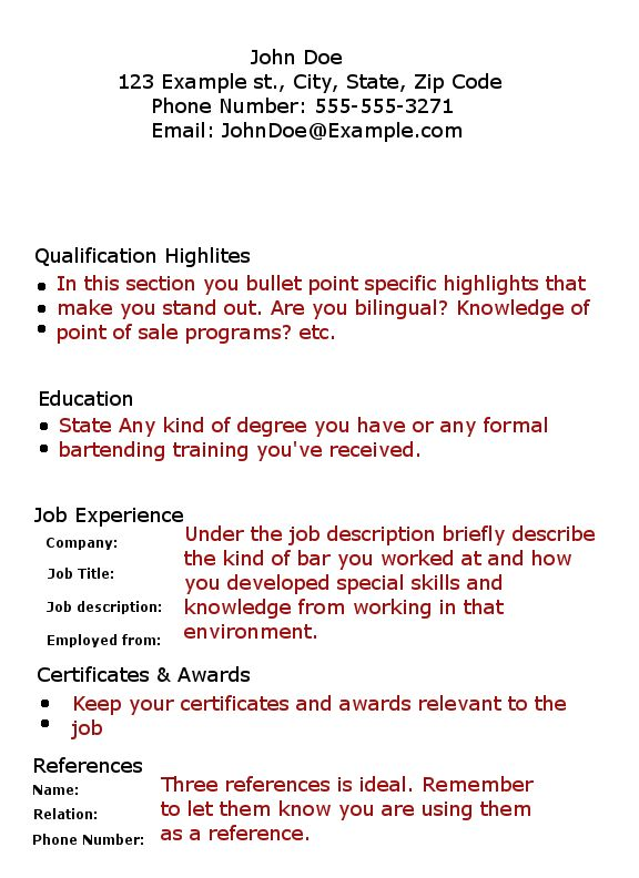 Bartending Resume With No Experience Pin Oleh Jobresume Di Career Termplate Free