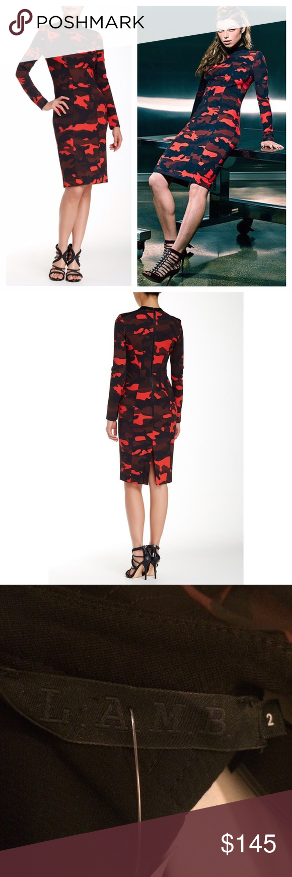 "NEW L.A.M.B. 2015 collection camo print dress New with tags L.A.M.B. 2015 collection camo print dress. Details: - Mock neck - Long sleeves - Back zip closure - Allover camo print - Approx. 40"" length. Pit to pit 16"". - Imported Fiber Content: Shell: 62% rayon, 33% nylon, 5% spandex Combo: 62% rayon, 33% nylon, 5% spandex Lining: 97% polyester, 3% spandex Care: Dry clean only Additional Info: Fit: this style fits true to size. Model's stats for sizing: - Height: 5'9"" - Bust: 34"" - Waist: 23""…"