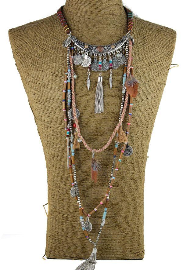 Gypsy Statement Vintage Long Necklace Ethnic jewelry boho necklace tribal collar Tibet Jewelry