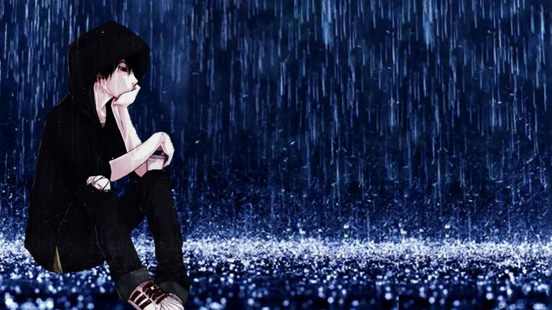 1920x1080 alone boy in the rain sketch sad anime boy images sad cartoon boy