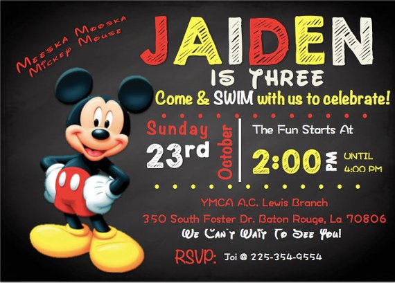 Mickey Mouse Themed Birthday Party Invitation Products Birthday