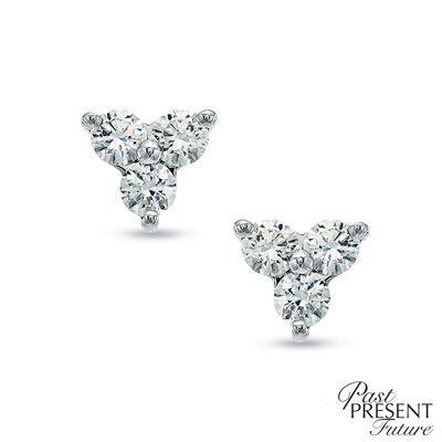 T W Diamond Past Present Future Cer Stud Earrings In 14k White Gold