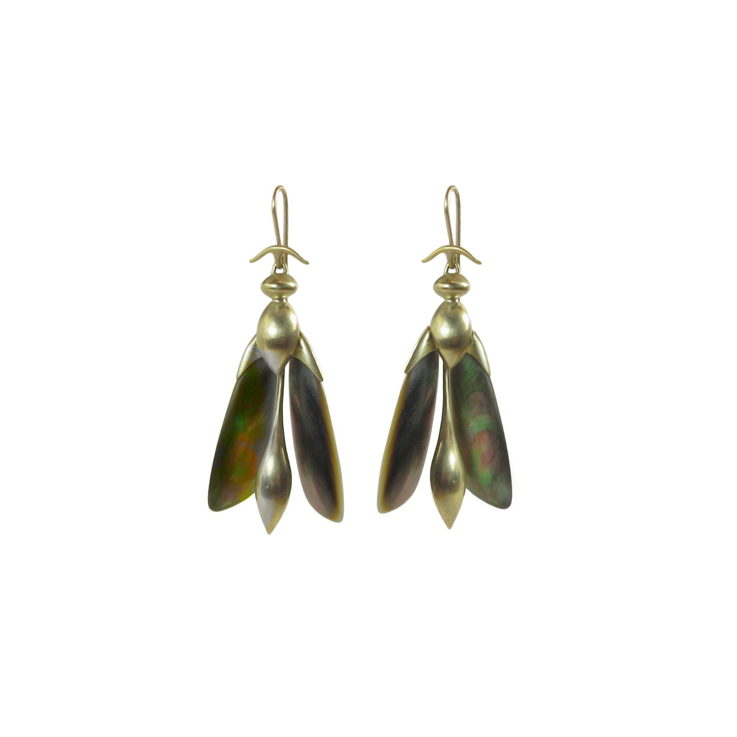 8efc8811f GABRIELLA KISS 10K & BLACK MOTHER-OF-PEARL ARTICULATED WASP EARRINGS ...